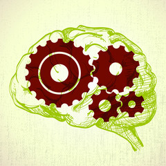 human brain sketch with cogs (gears) - illustration