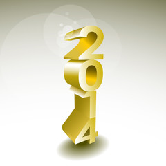 2014 New year golden 3d sign - illustration