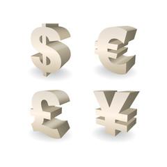 3D Currencies symbols, Dollar, Pound, Euro and Yen illustration