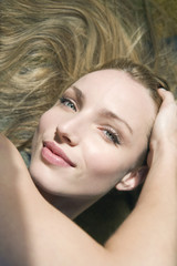 Junge Frau, Portrait, erhöhte Ansicht, Nahaufnahme