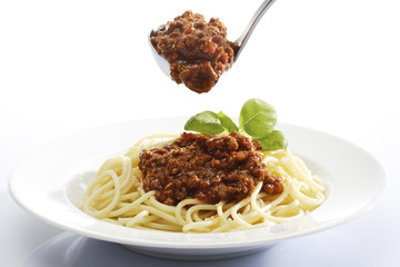 Spaghetti Bolognese mit parmasankäse