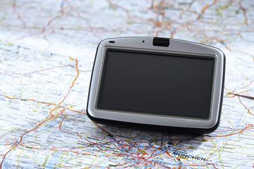Navigationsgerät auf der Karte, Nahaufnahme