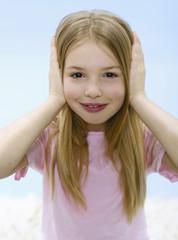 Mädchen, hält Ohren zu, Portrait
