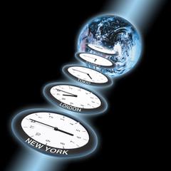 Globus und Uhren, Mittlere Greenwich-Zeit Symbol für