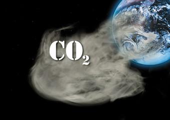 Kohlendioxid-Emissionen und Globus, Composing