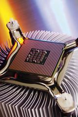 Prozessor-Chip, erhöhte Ansicht, Nahaufnahme