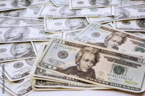 US-Dollar-Noten, erhöhte Ansicht, Nahaufnahme