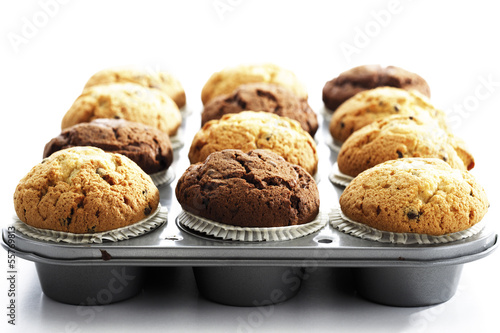 Muffins auf Backblech, Nahaufnahme