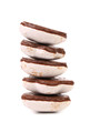 Stack of heart shape chocolate meringues.