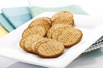 Cracker auf Teller, Nahaufnahme
