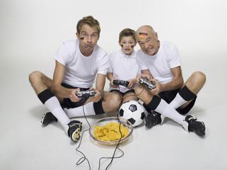 Deutsch Fußballfans beim Video-Spiel, Portrait