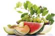 Verschiedene geschnittene Melonen und Trauben Nahaufnahme