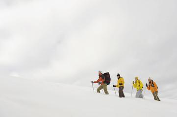 Italien, Südtirol, Schneeschuhwandern in einer Reihe