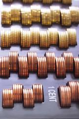 Cent-Münzen in Kasse