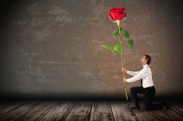 ein kniender Mann hält eine große rote Rose
