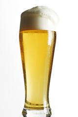 Glas helles Bier, Deutsch Weissbier, Nahaufnahme