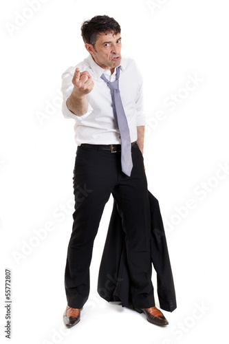 Belligerent businessman pointing his finger
