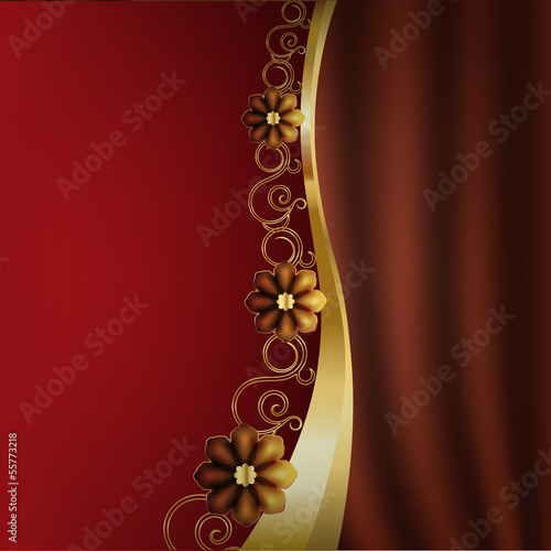 Beautiful background with flowers and fabric drape