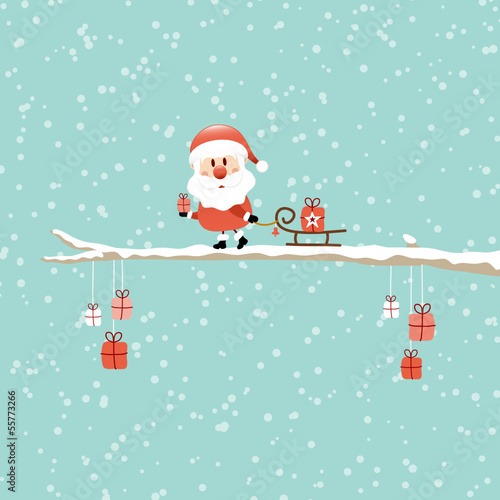 Santa Pulling Sleigh With Gift On Tree Retro