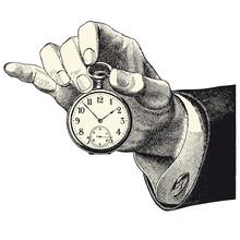 Main d'homme tenant une montre