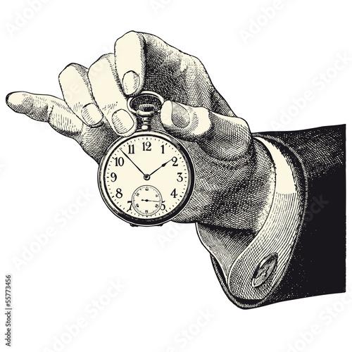Main d'homme tenant une montre - 55773456