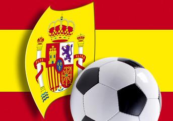 Flagge von Spanien und Fußball