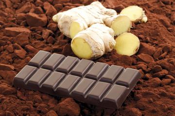 Schokolade mit Ingwergeschmack, Nahaufnahme