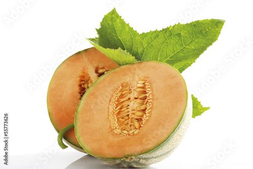 Geschnitten Cantaloupemelon und Blatt