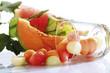 Melonenkugeln, in Glas liegend