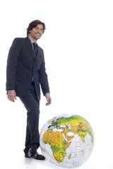 Geschäftsmann, mit Globus