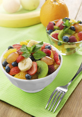 Sweet tasty fruit salad in the bowl