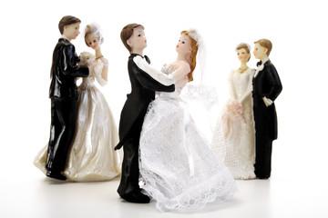 Drei Brautpaar Figurenpaare