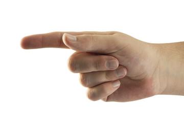 Mann zeigt mit dem Zeigefinger, Nahaufnahme