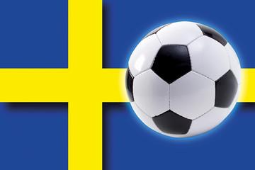 Fußball vor schwedische Flagge