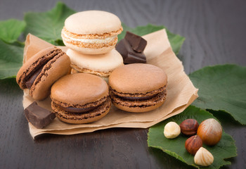 Macaroons with hazelnuts and chocolate