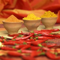 Curry, Kurkuma und Chilipulver mit roten Chilischoten, Nahaufnahme