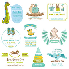 Set of Baby Shower and Arrival Cards - with place for your text