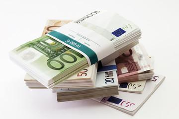 Bündel von Euro-Banknoten, Nahaufnahme