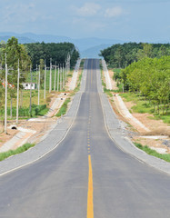 Countryside road with agriculture plantation