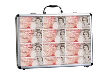 Koffer mit 50 £-Banknoten, Nahaufnahme gefüllt