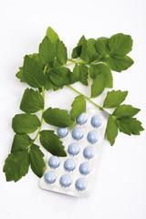 Baldrian Tabletten, erhöhte Ansicht, Nahaufnahme