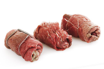 Rohes Rindfleisch, Rouladen cose-up