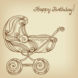 Vintage Happy birthday background with baby strolle
