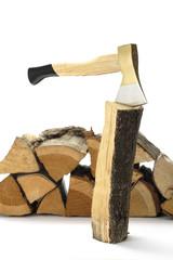 Axt und Brennholz, Nahaufnahme