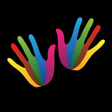 abstract creative colorful paint hands(palm) icon(sign)- vector