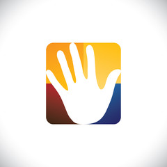 Human hand(palm) icon(sign) in a colorful rounded rectangle- vec