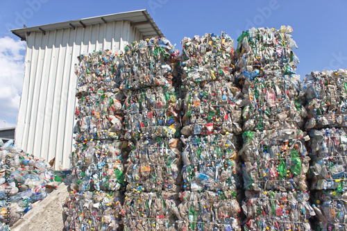 Stack of plastic bottles ready for recycling