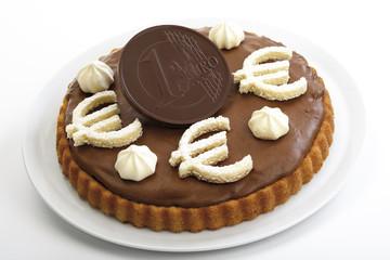 Schokoladen-Biskuit mit Euro-Zeichen