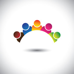 colorful office executives(employees) unity & diversity- vector