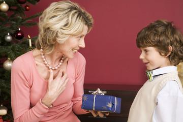 Junge überreicht Weihnachtsgeschenk an Großmutter, lächelnd